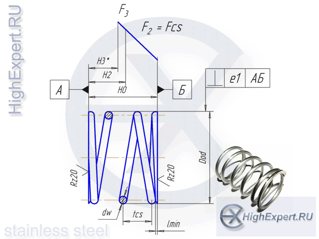 чертеж пружины сжатия и образец изготовленной пружины